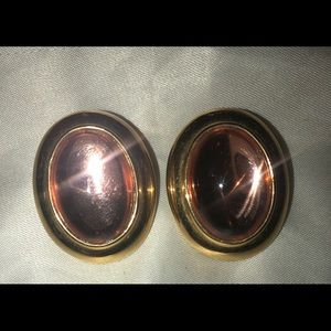 Vintage Monet clip on earrings gold tone pink